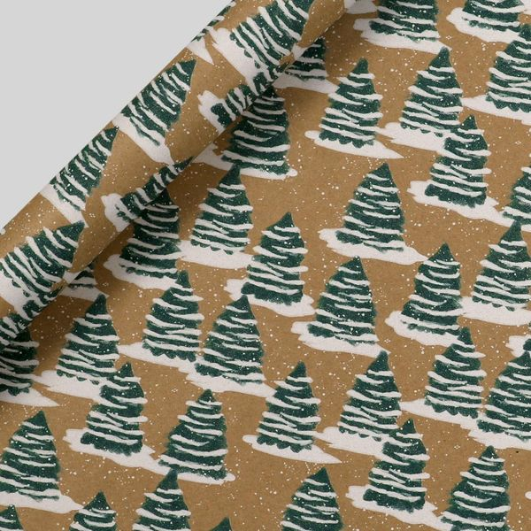 Kraft snowy trees Christmas wrapping paper - 3m