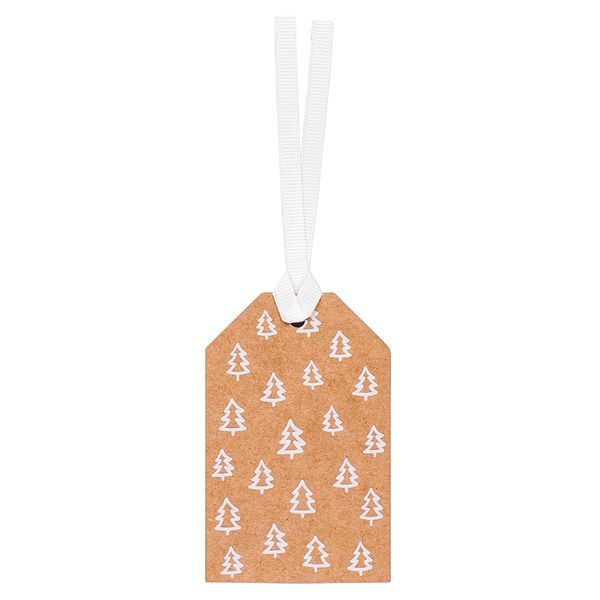 Kraft white trees gift tags - pack of 5