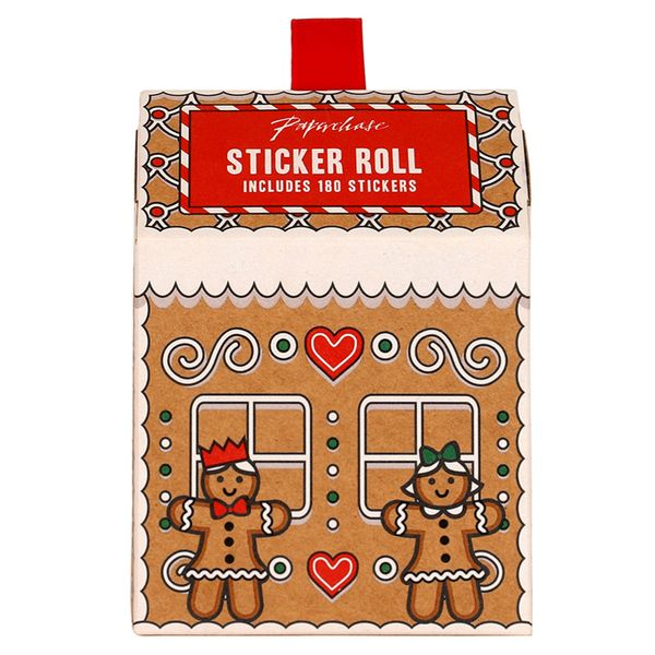 Gingerbread house present sticker box