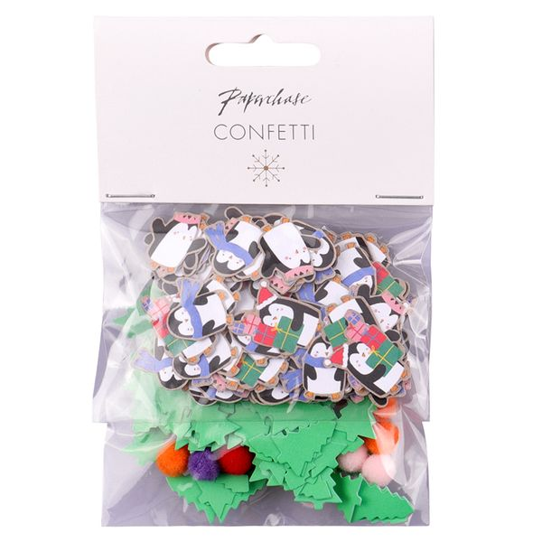 Penguin and Christmas trees confetti
