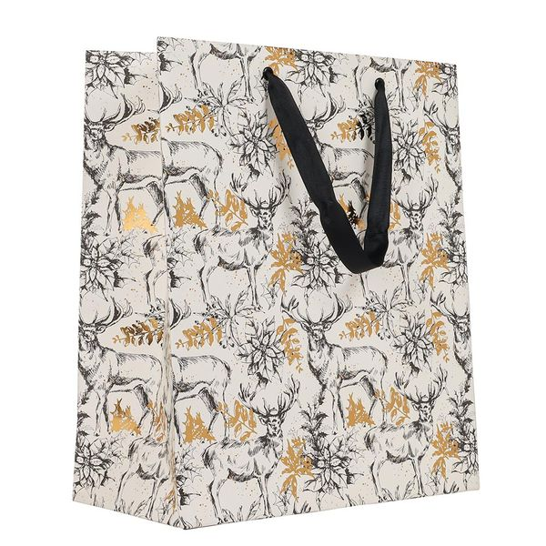 Gold foil stags large gift bag