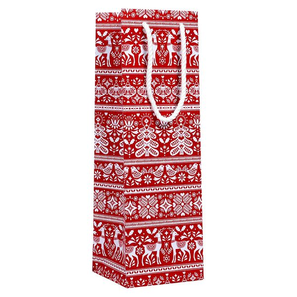 Red scandi bottle gift bag