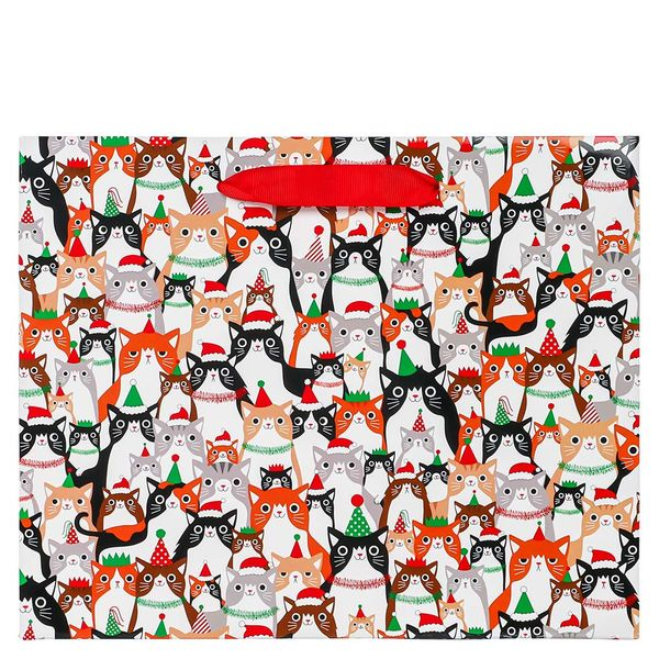 Festive cats medium gift bag