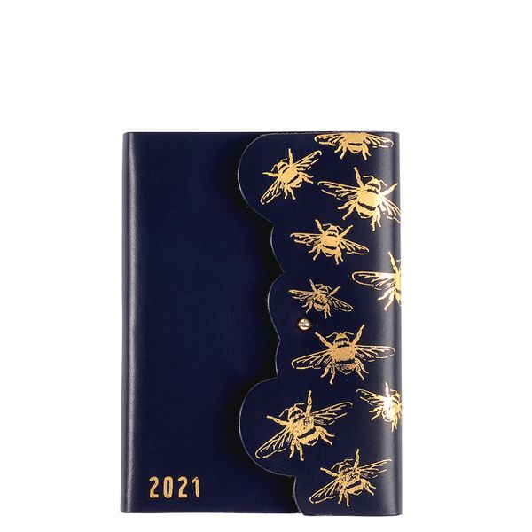A6 Navy Leather Gold Foil Bee WTV 2021 Diary