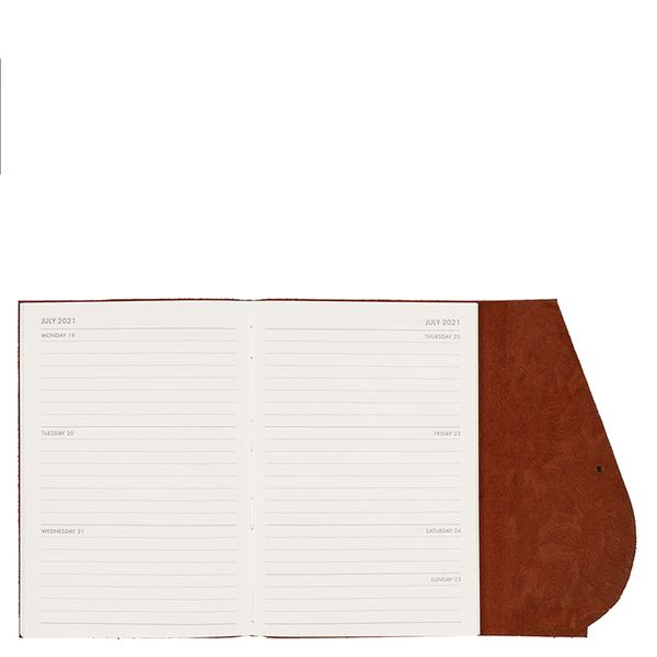 A5 Leather Brown Leaf WTV 2021 Diary