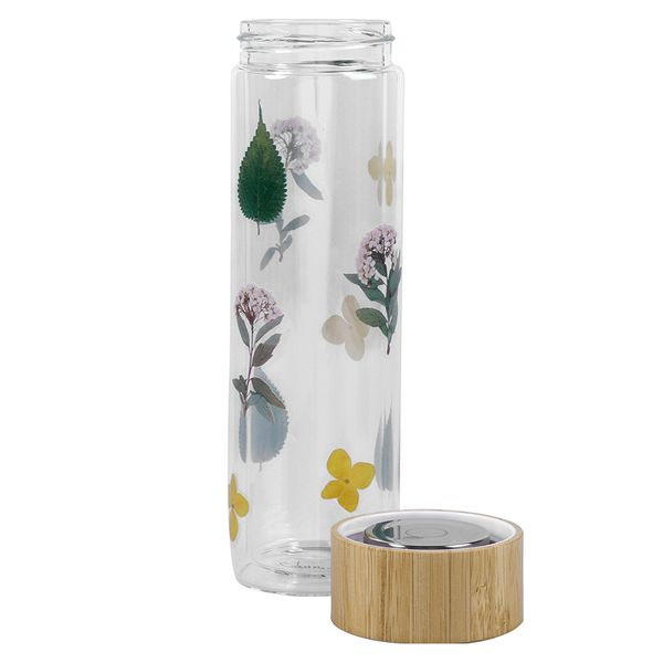 Glass floral water bottle