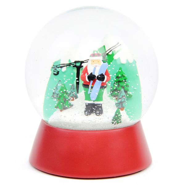 Santa Skiing Snow Globe Christmas Decoration