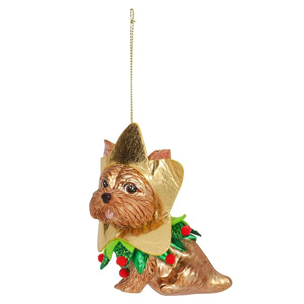 Glass Yorkshire Terrier with Star Face Christmas Decoration