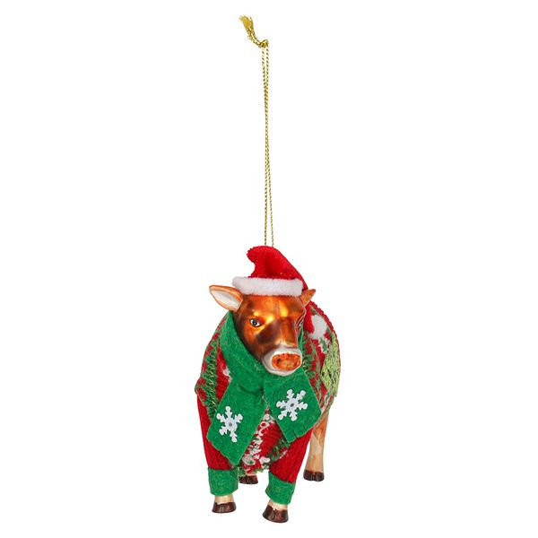 Glass Cow Christmas Decoration