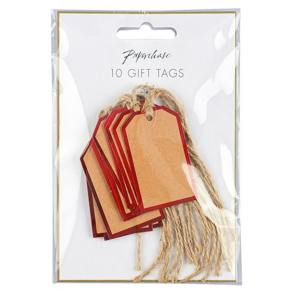 Mini kraft tags with red border - pack of 10