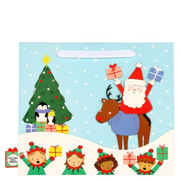 Santa and friends surprise large gift bag