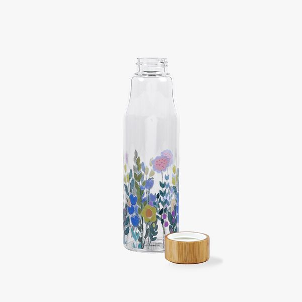 Floral Print Glass Water Bottle