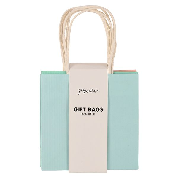 Pastel small Kraft gift bags - pack of 5