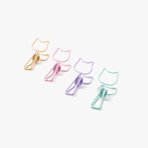 Pastel Cat Binder Clips - Pack of 4