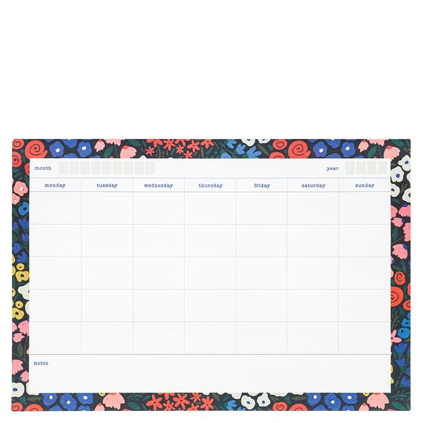 Floral month weekly schedule sticky notes