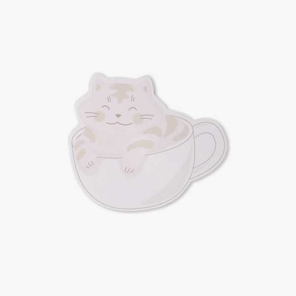 Cat in coffee sticky notes