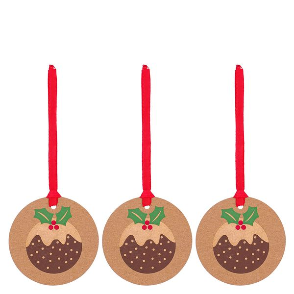 Christmas pudding gift tags - pack of 3