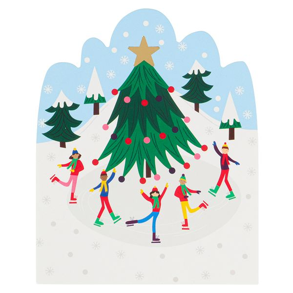Cut out ice skating scene Christmas postcard