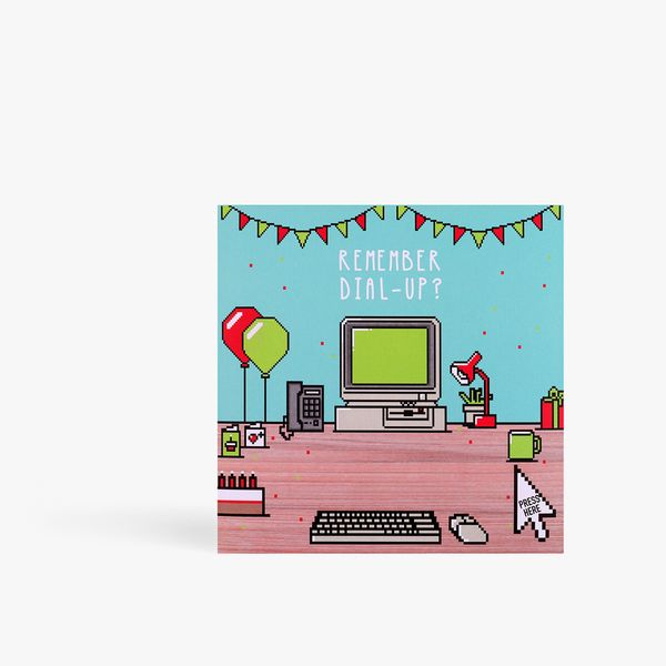 Dial up computer birthday card