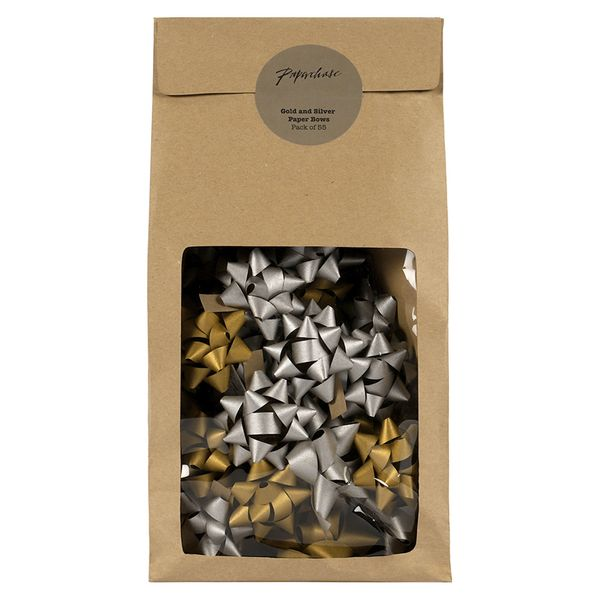 Gold and silver Kraft paper gift bows - pack of 55