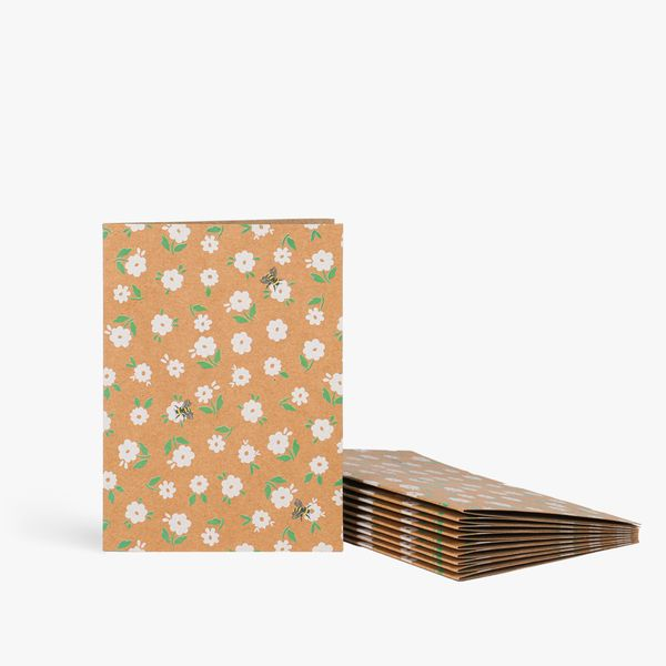 Ditsy bees and flowers notecards - pack of 10