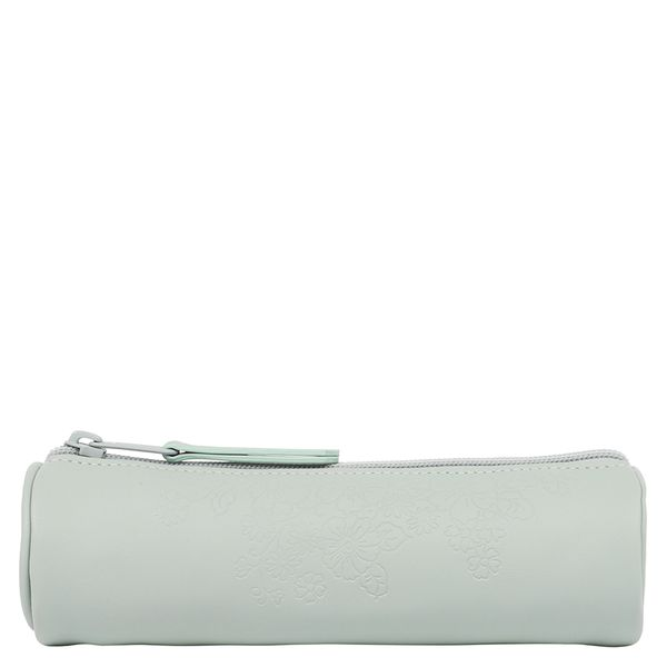 Floral mint barrel pencil case