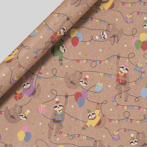 Sloth Birthday Wrapping Paper - 3m