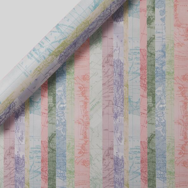 Striped Map Wrapping Paper - 3m