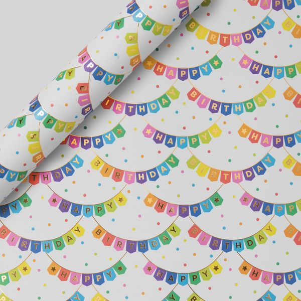 Birthday Bunting Wrapping Paper - 3m