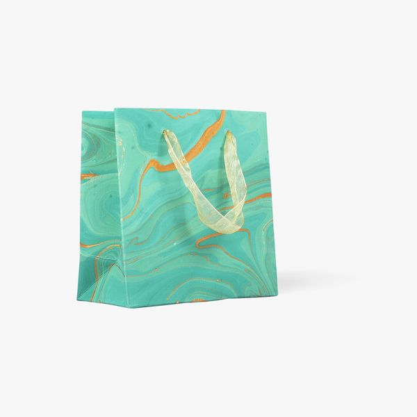Green marble small gift bag