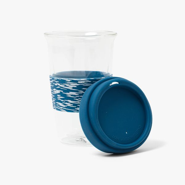 Textured Blue Recycled Glass Cup