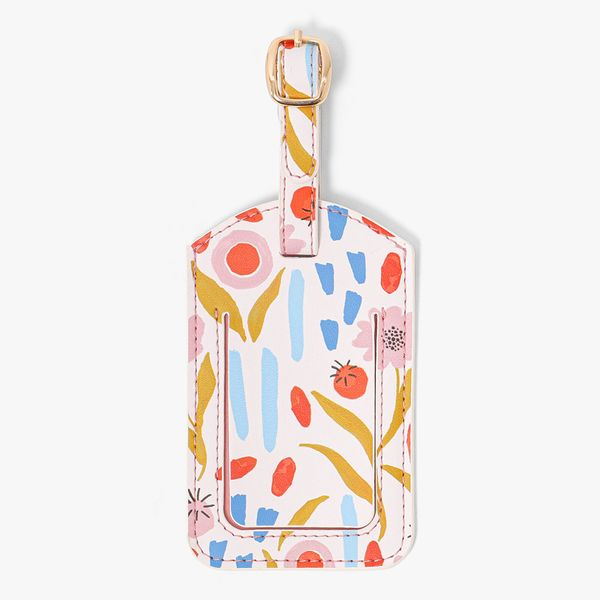 Pink Floral Luggage Tag