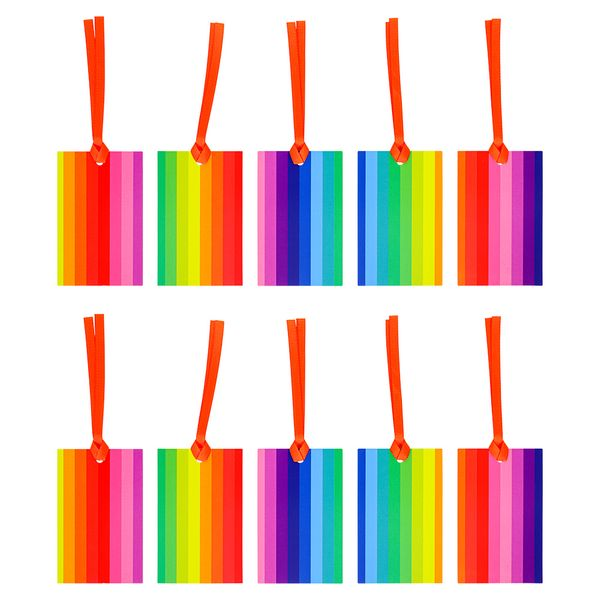 Rainbow medium gift bags with tags - 10 pack
