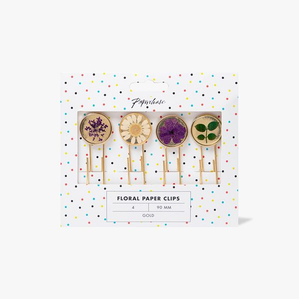 Floral Paper Clips - Pack of 4