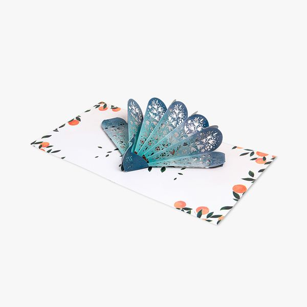 Pop Up Laser Cut Peacock Tail Card