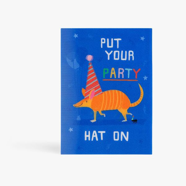 Put your party hat on birthday card