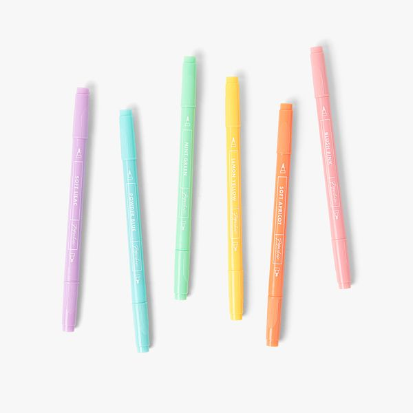 Dual-Ended Pastel Highlighters - Pack of 6