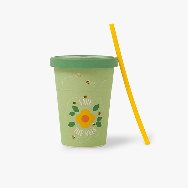 Bee Happy Cup with Straw