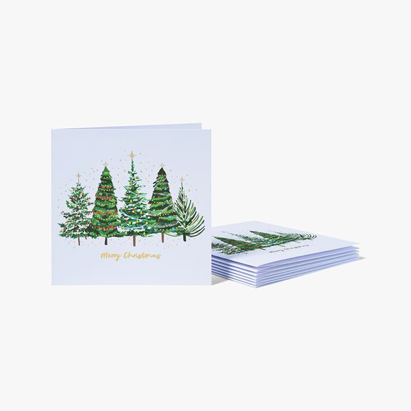 Brush Christmas Trees Charity Cards - Pack of 8