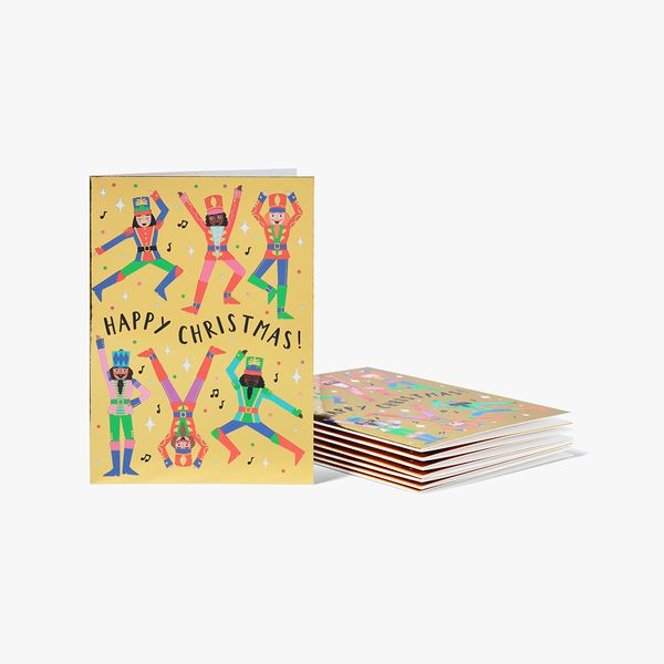 Nutcrackers On Gold Cards - Pack of 8