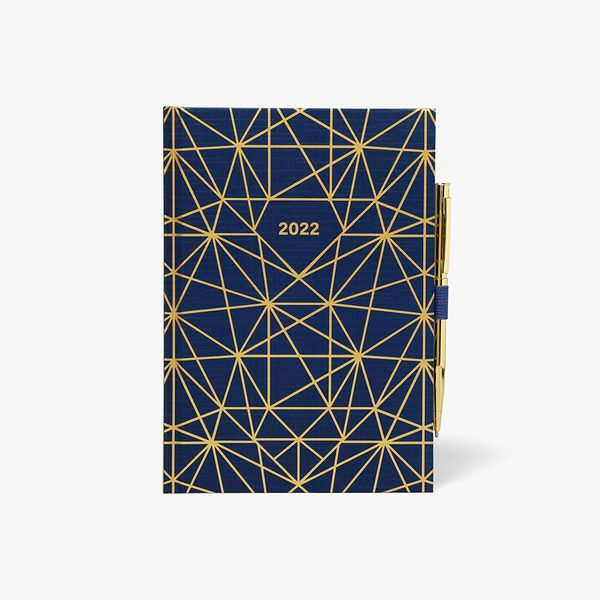 A5 Gold Geo WTV Diary With Pen 2022