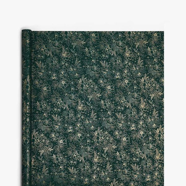 Green Festive Floral Wrapping Paper - 3m