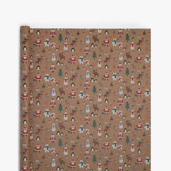 Festive Pals Kraft Wrapping Paper - 5m