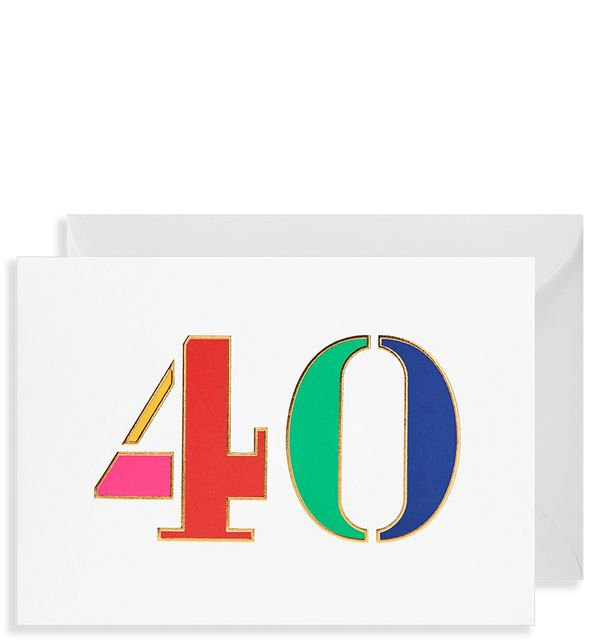 Bright and bold 40th birthday card