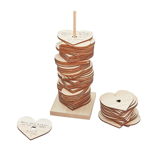 Wedding wooden stacking hearts guest book