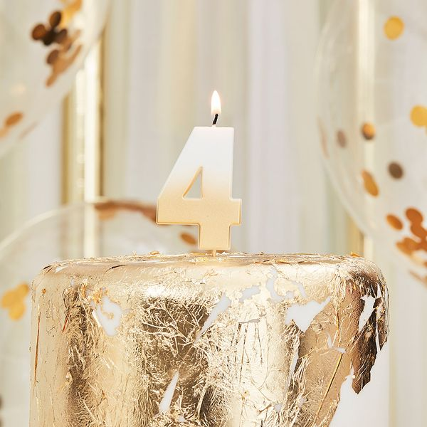 Ginger Ray gold number 4 candle
