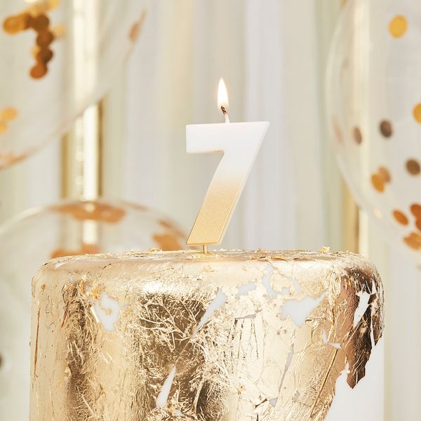 Ginger Ray gold number 7 candle