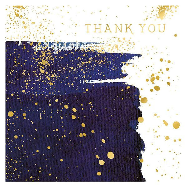 Blue and gold thank you card