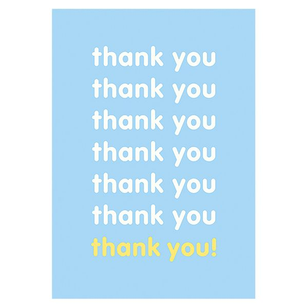 Blue and yellow thank you card