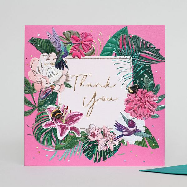 Pink bee and bird thank you card